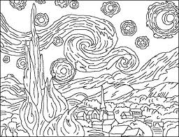 Small Picture Van Gogh Starry Night Coloring Page arts plastiques Pinterest