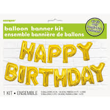 Happy Birthday Balloons Banner Unique Party Gold Happy Birthday Balloon Letter Banner Kit From Ocado