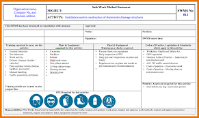 Method Of Statement Sample 100 statements of work Itinerary Template Sample 57