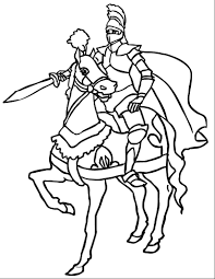 Kids Activities Colouring Page Knight