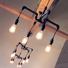 track lighting industrial look. industrial retro vintage chandelier steel pipe fittings filament bulb lamp in home furniture track lighting look
