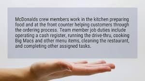 Mcdonalds Cook Job Description What Does A Mcdonalds Crew Member Do