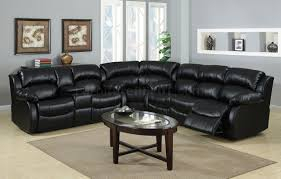 reclining sectional sofa in black bonded leather