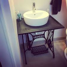 how to resurface bathroom sink unique old sewing machine base turned into bathroom vanity with vessel