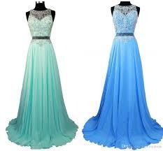 Light Pink And Light Blue Prom Dresses Gradient Ombre Prom Dresses Sheer Beads Crew Light Pink Blue