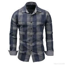 Cheap Mens Designer Shirts 2019 Mens Designer Shirts 2019 New Spring Mens 100 Cotton Plaid Shirt Casual Long Sleeve Shirt Denim Style Washed Mens Dress Shirts Fm119 From