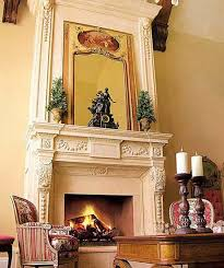 antique fireplace design in white color