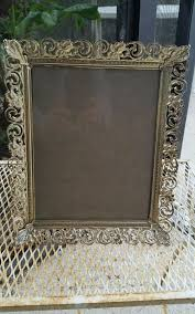 vintage picture frame 8x10 gold filigree metal white wash w glass beautiful