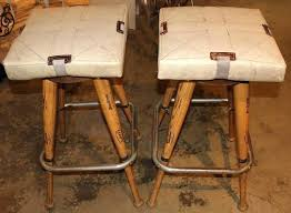pair of custom baseball bat bar stools with base seat cushions for a wonderful custom pair