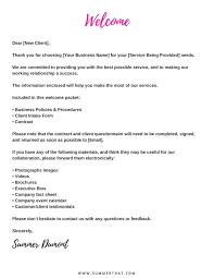 New Client Welcome Letter On Letter Welcome Letter To