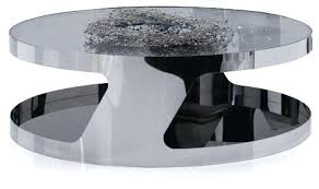 modern chrome and glass round coffee table stark black wood