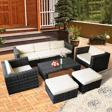 costway 8 pcs rattan wicker patio furniture set sectional cushioned ottoman sofa garden 0