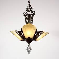 sold stunning antique three light art deco slip shade chandelier signed j c virden