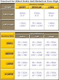 Size Chart For Albert Andre Anti Embolism Knee High Kk6
