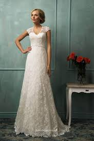 A Line Lace Wedding Dress With Sleeves On Wedding Dresses Vintage