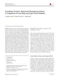 Pdf Examining Teachers Behavioral Management Charts A