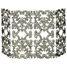 cool wrought iron fireplace screen design with metal scroll