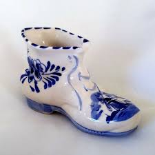 Delfts Blue Boot Collectible <b>Vintage Hand Painted</b> Dutch Windmill ...