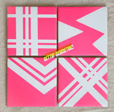 tape and spray paint tile coasters diy