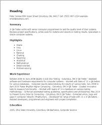 Resume Templates: Jr Qa Tester