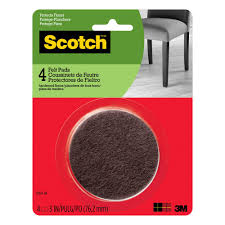 brown round surface protection felt floor pads 4 pack