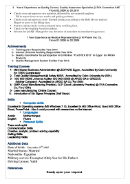 resume in     quality management system