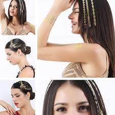 Metallic Flash Gold Hair Temporary Tattoo Sticker