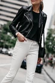woman wearing club monaco black leather jacket white denim fashion jackson dallas blogger fashion blogger street