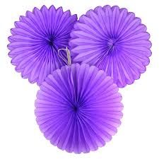 5 purple tissue paper fan decorations