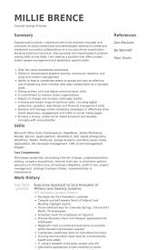 executive assistant to vice president of military and seating systems resume samples military resume example