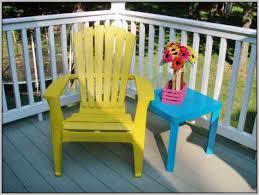 yellow plastic adirondack chair