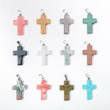 natural stone cross pendants pray charms fit for necklaces bracelet making findings whole 24pcs fashion