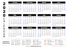 Printable Calendars 2020 With Holidays 2020 Printable Calendar With Holidays