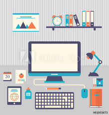 trendy office supplies. Flat Icons Of Trendy Everyday Objects, Office Supplies And Busin