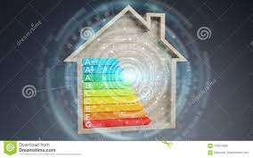 Class House Chart 3d Rendering Energy Rating Chart In A Wooden House Stock