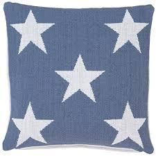 Star Denim White Indoor Outdoor Pillow