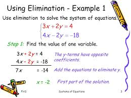 2 first part of the solution fhs systems of equations using elimination example 1