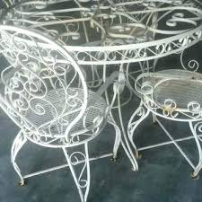 white wrought iron furniture. White Metal Garden Furniture Wrought Iron Set Patio Ornate Vintage Table .