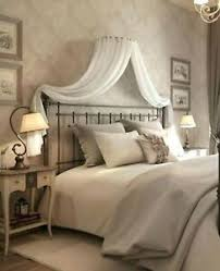 Details about Adult BED CANOPY Set WHITE CREAM corona with Wall frame Drapes & Beaded Ties