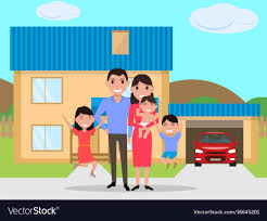 New Home Cartoon Images Cartoon Happy Family Bought A New House