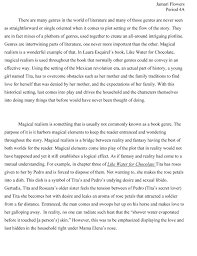 my essays my green life jamari flowers^ ^ magical realism page 1