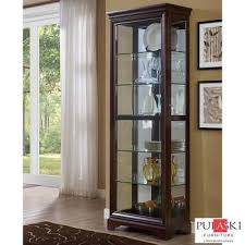 pulaski display cabinet with led light adjule glass shelves sliding door