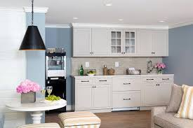 Attractive Light Gray Kitchenette Cabinets With Glossy Gray Backsplash Tiles