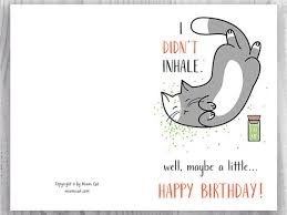 Printable Birthday Cards Funny Cat Birthday Cards Stoner