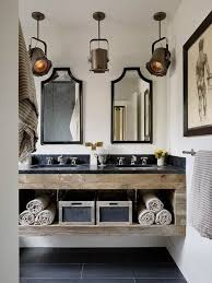 20 bathroom designs with vintage industrial charm bathroom vanity barnwood mirror oyster pendant lights