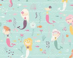 Mermaid Song Fabric by the Yard. Quilt Cotton, Knit, Jersey or ... & Mermaids and Seahorses Fabric by the Yard. Quilting Cotton or Organic  Cotton. Fairytale Girl Children's Fabric Ocean Fish Mermaid Seahorse Adamdwight.com