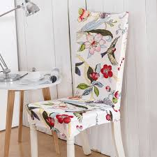 fl printing birds flowers elastic multifunctional spandex elastic dining room chair cover for modern kitchen table chair