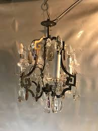 chandelier with 3 lights and pendants of pink crystal and crystal france around 1920