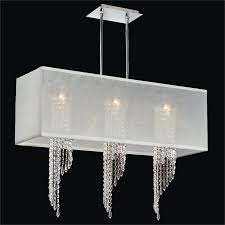hanging modern chandelier with white rectangular shades and 3 hanging crystal for contemporary bedroom decoration lighting ideas