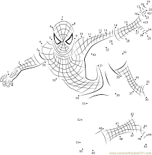 Adult Spiderman dot to dot printable worksheet - Connect The Dots